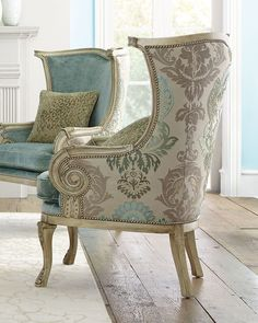 Massoud Silver Damask Chair