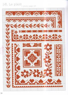 Cross stitch borders and comers, red, hearts, flowers, mono #55 - Rouge - Orlanda