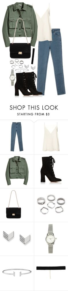 """""""Untitled #3761"""" by theeuropeancloset ❤ liked on Polyvore featuring Rolla's, Anine Bing, Gianvito Rossi, FOSSIL, H&M and Bartoli"""