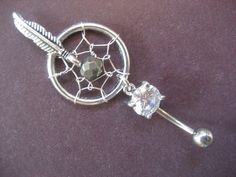 Dream Catcher Belly Button Ring Faceted Pyrite by Azeetadesigns