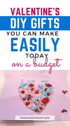 Valentine's Day Gifts do not need to be expensive. Here are 7 Quick and Easy Valentine's Day gifts you can make on a budget. Valentines Diy, Valentine Day Gifts, Love You To Pieces, Cute Diy Projects, Heart Template, Paint Cards, Do It Yourself Projects, Paper Hearts, Fun Diy