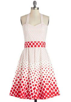 Ice Cream Sunday Dress. This polka-dotted halter dress from French brand Timomo is sure to sweeten your day off!  #modcloth