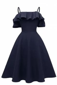 Ruffle Trim Spaghetti Straps Satin Prom Dress - Expolore the best and the special ideas about Cocktails Cute Prom Dresses, Grad Dresses, Dance Dresses, Elegant Dresses, Pretty Dresses, Homecoming Dresses, Beautiful Dresses, Evening Dresses, Casual Dresses