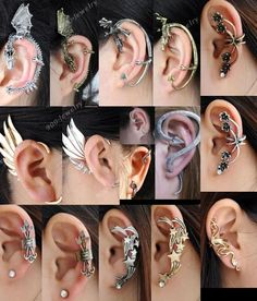 Gothic Rock Punk Temtation Metal Dragon Wing Snake Ear Cuff Wrap Clip Earring * soo want these! Ear Jewelry, Cute Jewelry, Body Jewelry, Jewelery, Jewelry Accessories, Jewelry Making, Dragon Ear Cuffs, Snake Ears, Accesorios Casual