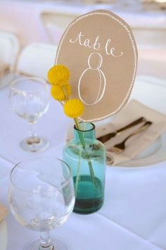 Really simple for a shower or small wedding on a budget. Not a fan of the table number though, maybe use something else.