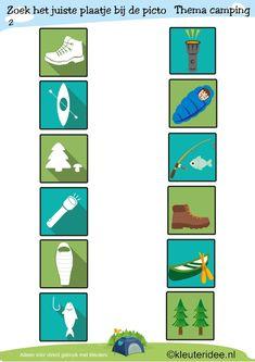 Picto's matchen 2, thema camping, kleuteridee , juf Petra, preschool camping theme, free printable.