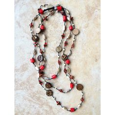 Red Boho Necklace, Stone Necklace, Red, Knotted Necklace, Woman Gift,... (39 CAD) ❤ liked on Polyvore featuring jewelry and necklaces
