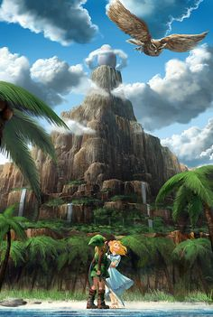 The Owl, Link,and Marin on Koholint Island - The Legend of Zelda: Link's Awakening; fan art