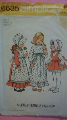"""HOLLY Hobby DRESS, Hat, Apron Pinafore, VINTAGE Girls size 2 ,Simplicity 6635 chest 21""""  sewing pattern"""