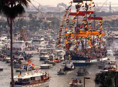 Gasparilla! Jose Gaspar and his crewe of pirates invade tampa yearly. We've been in that boat mess. loud but fun!