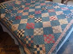 """EARLY ANTIQUE BLUE QUILT WITH """"THE BEST"""" BROWN HOMESPUN BACKING #Naiveprimitive"""