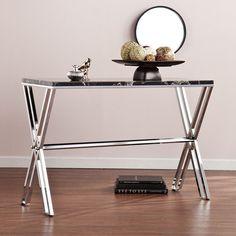 Southern Enterprises, Inc CK6533 Elysian Faux Stone Console Table - Black Marble
