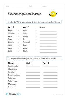 9 best zusammengesetzte nomen images on Pinterest | Primary school ...