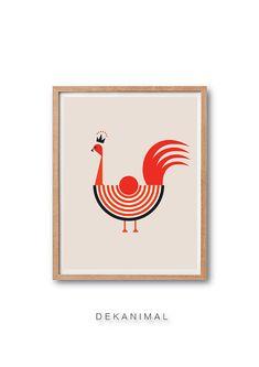 Rooster Art Print - Rooster illustration, Hen art print, hen illustration…