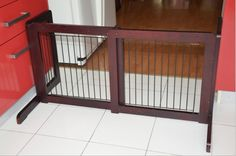 36 inch Espresso Free standing Pet Gate is made from Solid Wood(Pine), which has a folding design that makes it simple to set up and store. Portable Dog Fence, Barns Sheds, Pet Gate, Modern Fence, Solid Wood, Modern Design, Cool Designs, Gates, Espresso