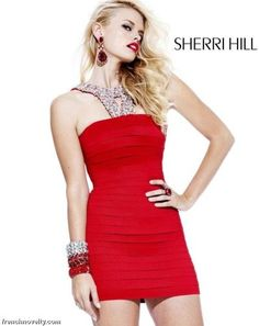 Sherri Hill Banded Cocktail Dress with Beading 2765 $427.99 2014 Sherri Hill Short Cocktail