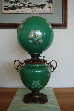 Antique GWTW Oil Kerosene Old Glass Green Lamp | eBay