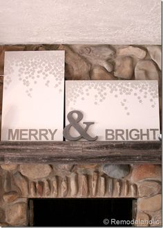 Christmas art canvas tutorial - Merry and bright snow silver and white - using Silhouette cutter via Remodelaholic