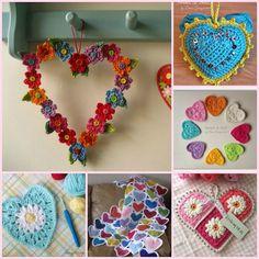Los mejores patrones de corazones a Crochet. Me gustan todoooos.... http://bit.ly/corazonesflorescrochet