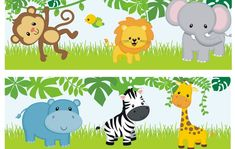 Safari Party, Jungle Theme Parties, Jungle Theme Birthday, Jungle Party, Safari Theme, Clipart Baby, Spongebob Birthday Party, 1st Birthday Parties, Deco Jungle