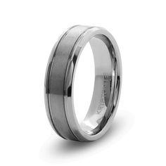 Gents tungsten ring with flat matt top