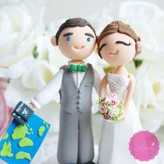 Travel Themed Wedding Cake Topper   Emmaline Bride®