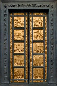 Gate of Paradise  Florence Baptistery - In 1425 Lorenzo Ghiberti got a commission for the East Doors of the baptistry, on which he and his workshop toiled for 27 years, excelling themselves.These doors have ten panels depicting scenes from the Old Testament, he employed the recently discovered principles of perspective to give depth to his compositions.The 10 panels are included in a richly decorated gilt framework of foliage and fruit, many statuettes of prophets and 24 busts. Michelangelo…