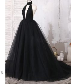 Ball Gown Halter Backless Black Prom Dress with Keyhole - Backless Prom Dress, Black Prom Dress, Ball Gown Prom Dress Source by NightfallQueen - Ball Gowns Evening, Black Evening Dresses, Ball Gowns Prom, Ball Gown Dresses, Tulle Ball Gown, Black Wedding Dresses, Black Ball Dresses, Black Gowns, Bridal Dresses