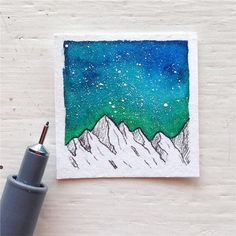 I found my heart in the mountains and the dark indigo sky. @jenaranyi #watercolor #art #nightsky #stars #nature #illustrations #constalations #galaxy #mountains #outdoor #adventures #painting #linedrawing #staedtler #staedtlerpigmentliner @staedtlerdeutschland #pen #fineliner #maskingfluid #windsorandnewton