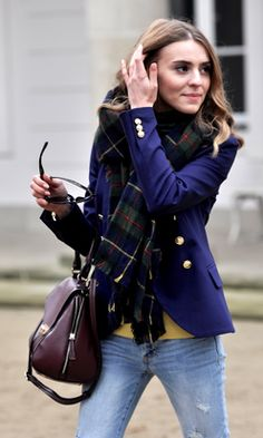 a GORGEOUS plaid scarf (regardless of what kind) finishes a crisp, blue blazer and dresses up casual denim.