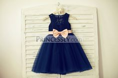 Navy Blue Lace Tulle Flower Girl Dress Keyhole Back with Blush Pink Bow Belt