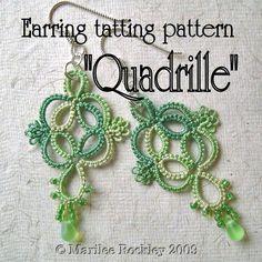 PDF Tatting pattern Quadrille tatted earring pattern by yarnplayer, $2.75