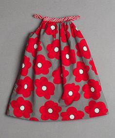 Red & Gray Reversible Yoke Dress -  Toddler & Girls