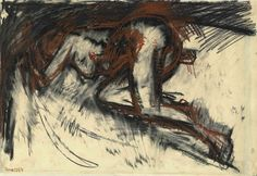 """Frank Auerbach - """" Study of a Nude """", June 1954 - Charcoal, pastel and graphite on paper - 39 x cm Figure Painting, Figure Drawing, Painting & Drawing, Life Drawing, Drawing Sketches, Drawings, Gouache, Frank Auerbach, Self Portrait Art"""