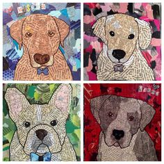 Discover recipes, home ideas, style inspiration and other ideas to try. Dog Pop Art, Dog Art, Animal Art Projects, Teen Art, Pop Art Portraits, Art Lessons Elementary, Cultural, Recycled Art, Art Club