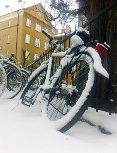 Bike in snow in Linköping, Sweden