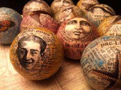 collage on billiard balls  AlteredArcheology on etsy