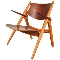 Sawbuck Easy Chair by Hans J. Wegner for Carl Hansen & Son, Denmark, circa 1951 | 1stdibs.com