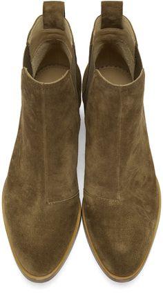 Rag & Bone: Green Suede Walker Boots | SSENSE