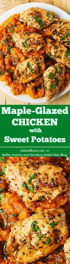Maple-Glazed Chicken with Sweet Potatoes - SO good,lots of protein, fiber, and… chicken dishes Turkey Recipes, Fall Recipes, Fall Dinner Recipes, Maple Glazed Chicken, Cooking Recipes, Healthy Recipes, Health Chicken Recipes, Sweet Potato Recipes Healthy, Think Food