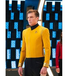 Anson Mount Star Trek Discovery Yellow Jacket - The Movie Fashion - Star Trek Discovery Captain Pike Yellow Leather Jacket - Star Trek Discovery Captain, Star Trek Jacket, Star Trek Gifts, Star Trek Logo, Star Trek Uniforms, Anson Mount, Slim Fit Jackets, Men's Jackets, Star Trek Characters