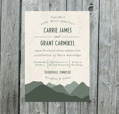 A getaway in the mountains! The perfect invitation for an outdoor wedding in the mountains or woods! ***Please see detailed pricing below***