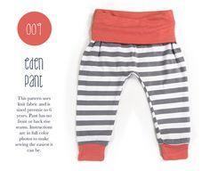 009 Eden Baggy Harem Pants PDF Sewing Pattern Kid Baby Boy or Girl Knit Fold Over Waist Rib Cuff Preemie- 6T Leggings Spit Up & Stilettos