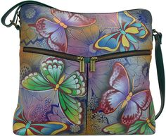 Butterfly Paradise Hand-Painted Leather Crossbody