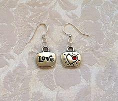 LOVE Charm Earrings with Red Swarovski Crystal. $14.95, via Etsy.