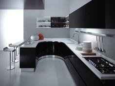 Siyah ve beyaz mutfak.