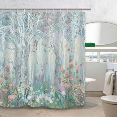 DYNH Deer Shower Curtain Safari Decor, Elk in Fanstry Forest with Flowers Birds Butterflies Dragonflies Fabric Curtains for Bathroom, in Bath Drapes Accessories with Hooks Deer Shower Curtain, Wapiti, Stained Glass Window Film, Christmas Shower Curtains, Safari Decorations, Bathroom Curtains, Bathroom Bath, Window Films, Upstairs Bathrooms