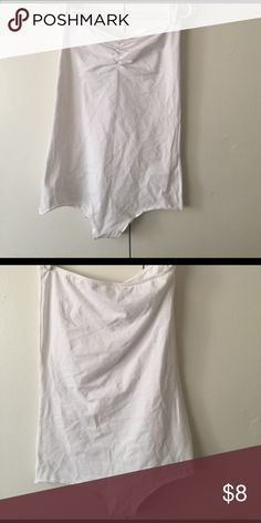 White strapless bodysuit Has rucking sweetheart neckline but the crotch does not have snaps or buttons American Apparel Tops Tank Tops