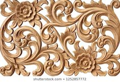 Pattern Flower Carved On Wood Background Stock Photo (Edit Now) 788622484 Wood Carving Designs, Wood Carving Tools, Wood Carving Patterns, Flower Patterns, Pattern Flower, Garden Water Fountains, Victorian Frame, Black Love Art, Wood Background