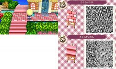 A nice path/stairs set for Animal Crossing: New Leaf. Although i pinned it for reference on the stairs so i could try and make my own. (i didn't make this)